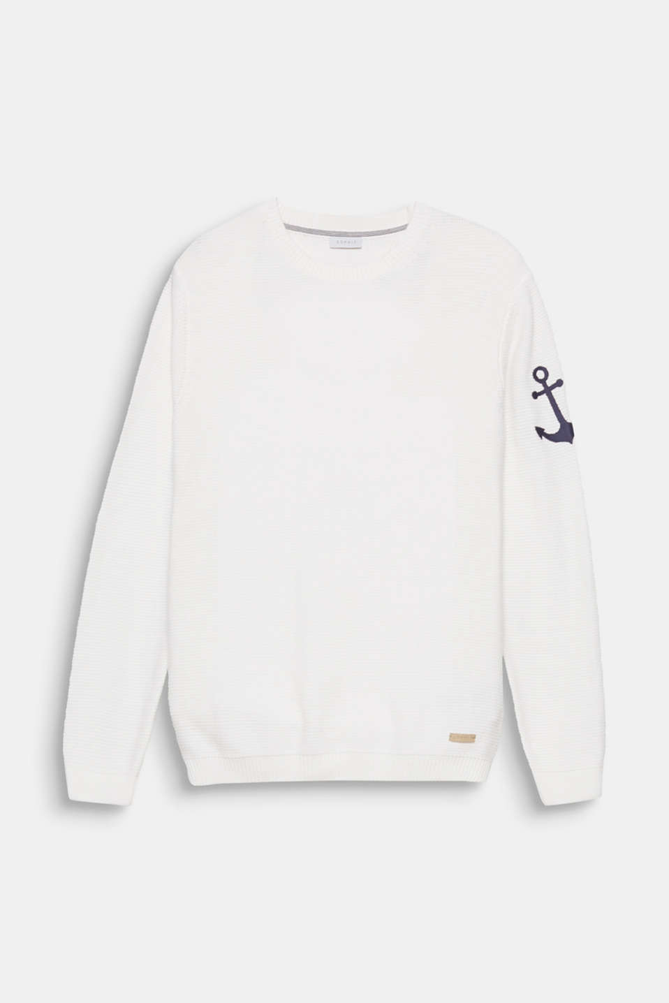 Nautical knitwear! The distinctive embroidered anchor on the left sleeve complements the nautical look.