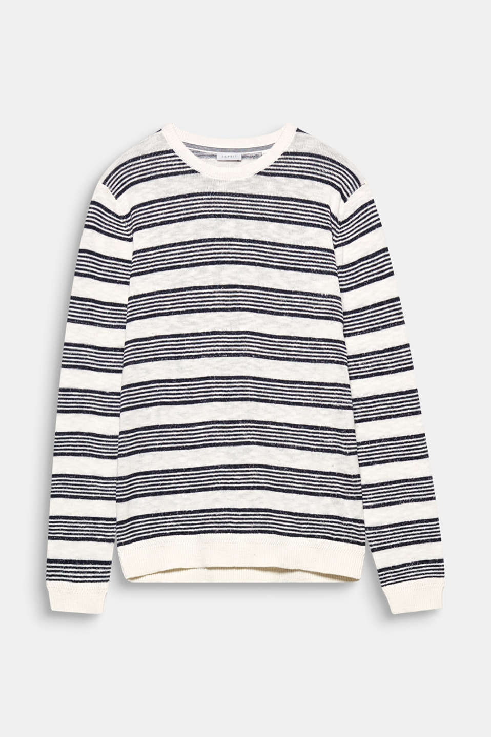 A timeless classic: this slightly melange knit jumper in a cool striped look made of 100% cotton.