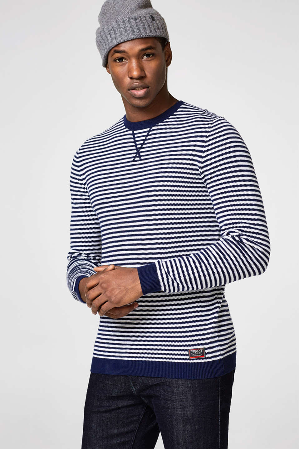 Esprit - Knit jumper with textured stripes