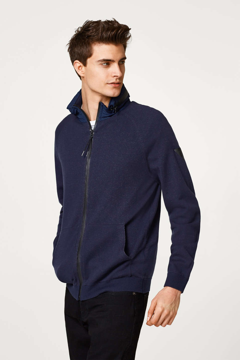Esprit - Zip cardigan with an adjustable nylon hood