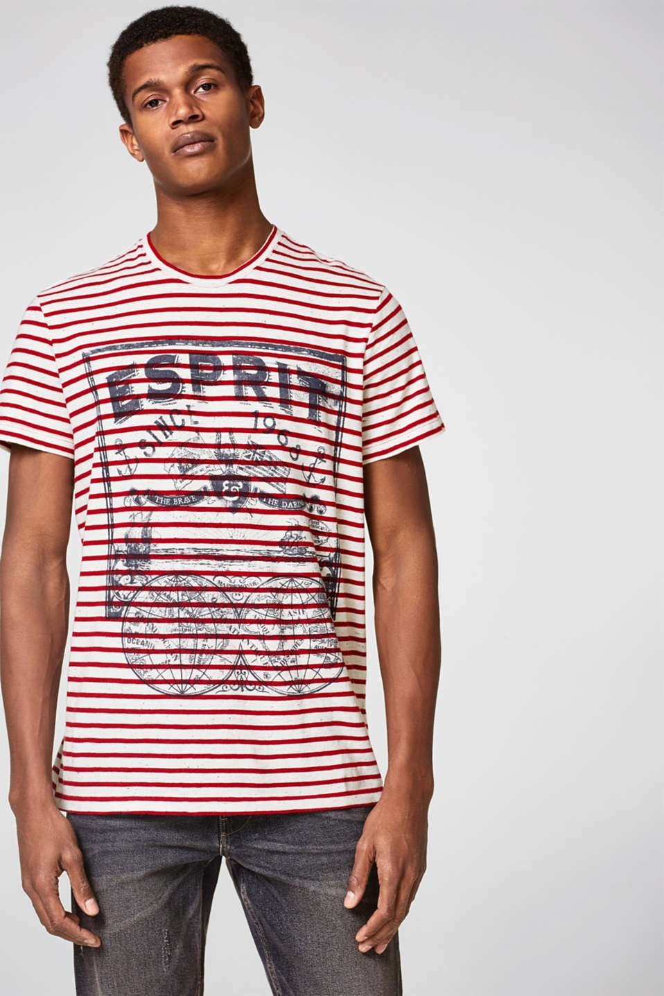 Esprit - Striped T-shirt with a print, in jersey
