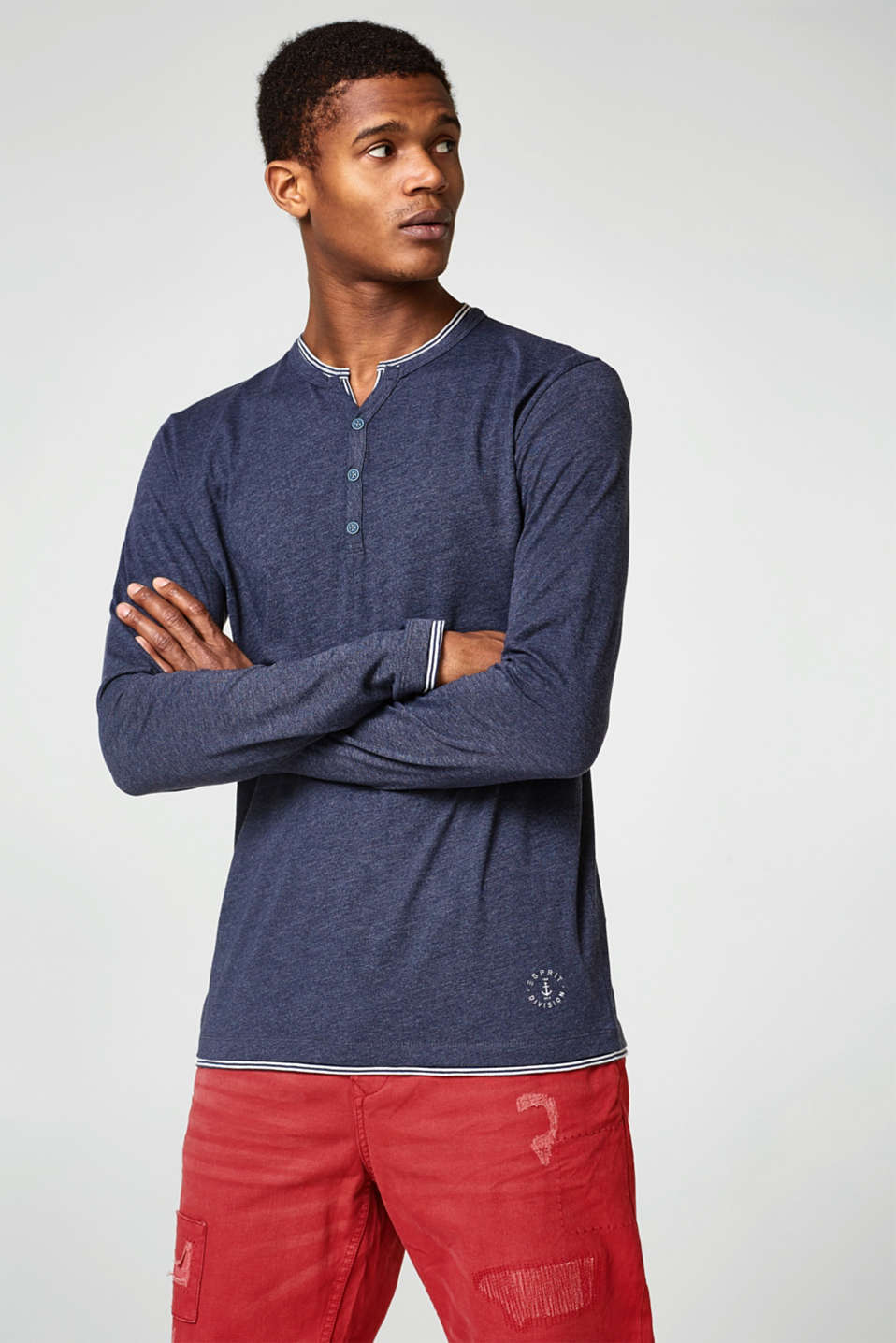 Esprit - Long sleeve jersey top with a striped layer