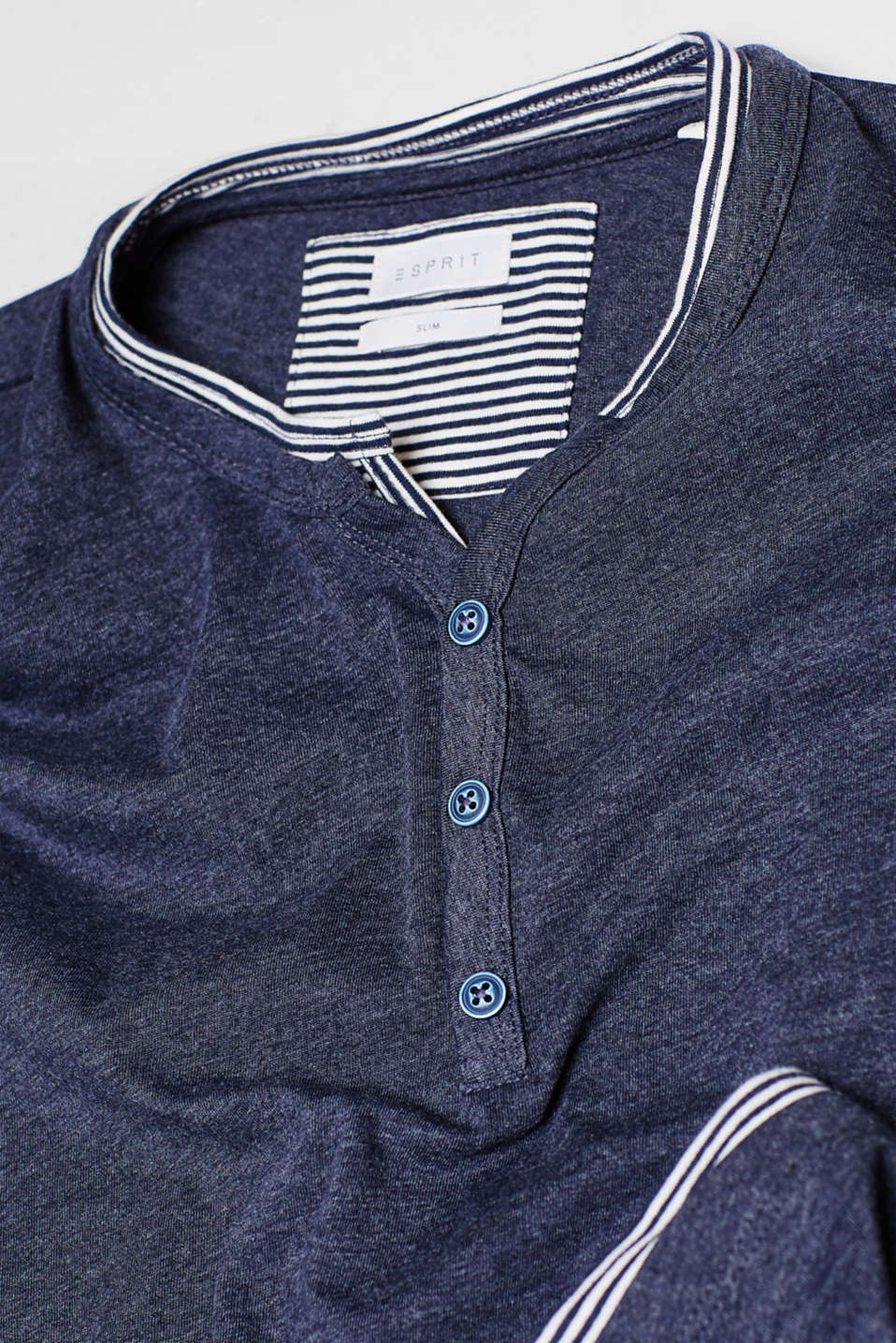 Long sleeve jersey top with a striped layer