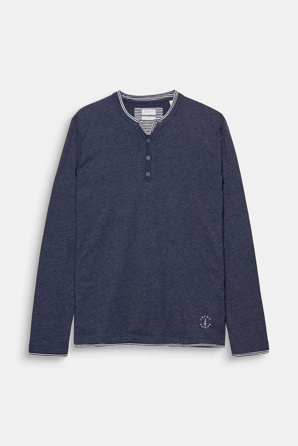 The striped layered look adds a fine detail to this blended cotton long sleeve top with a Henley neckline.