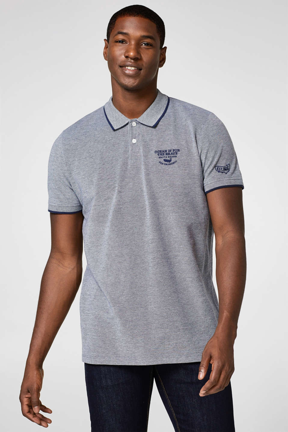 Esprit - Cotton polo shirt in a two tone piqué