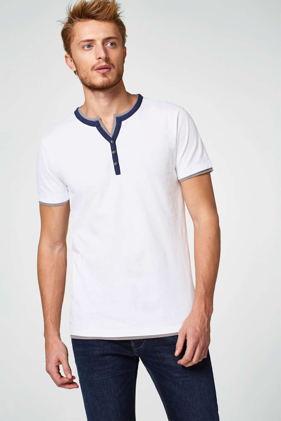 Esprit - Layered Henley-style jersey T-shirt