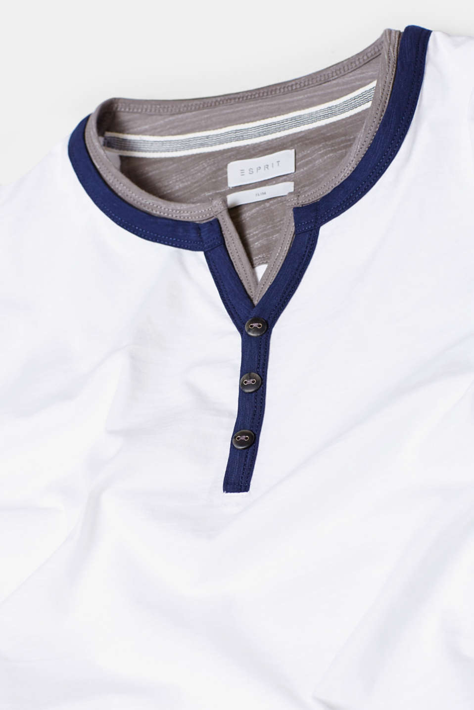 Layered Henley-style jersey T-shirt