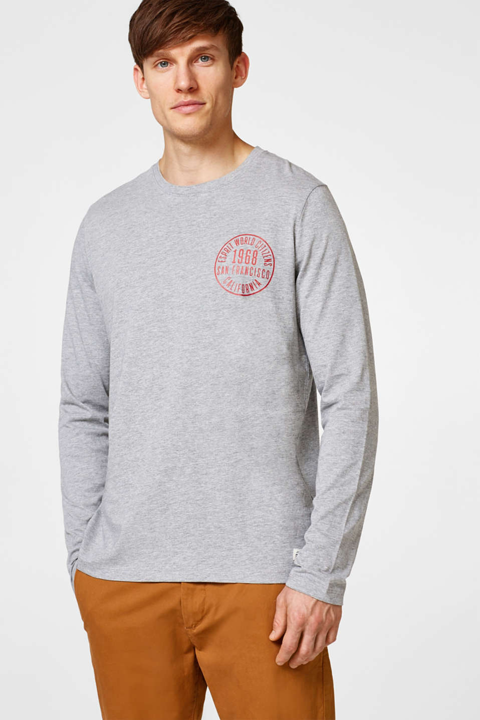 Esprit - Long sleeve logo print top in jersey