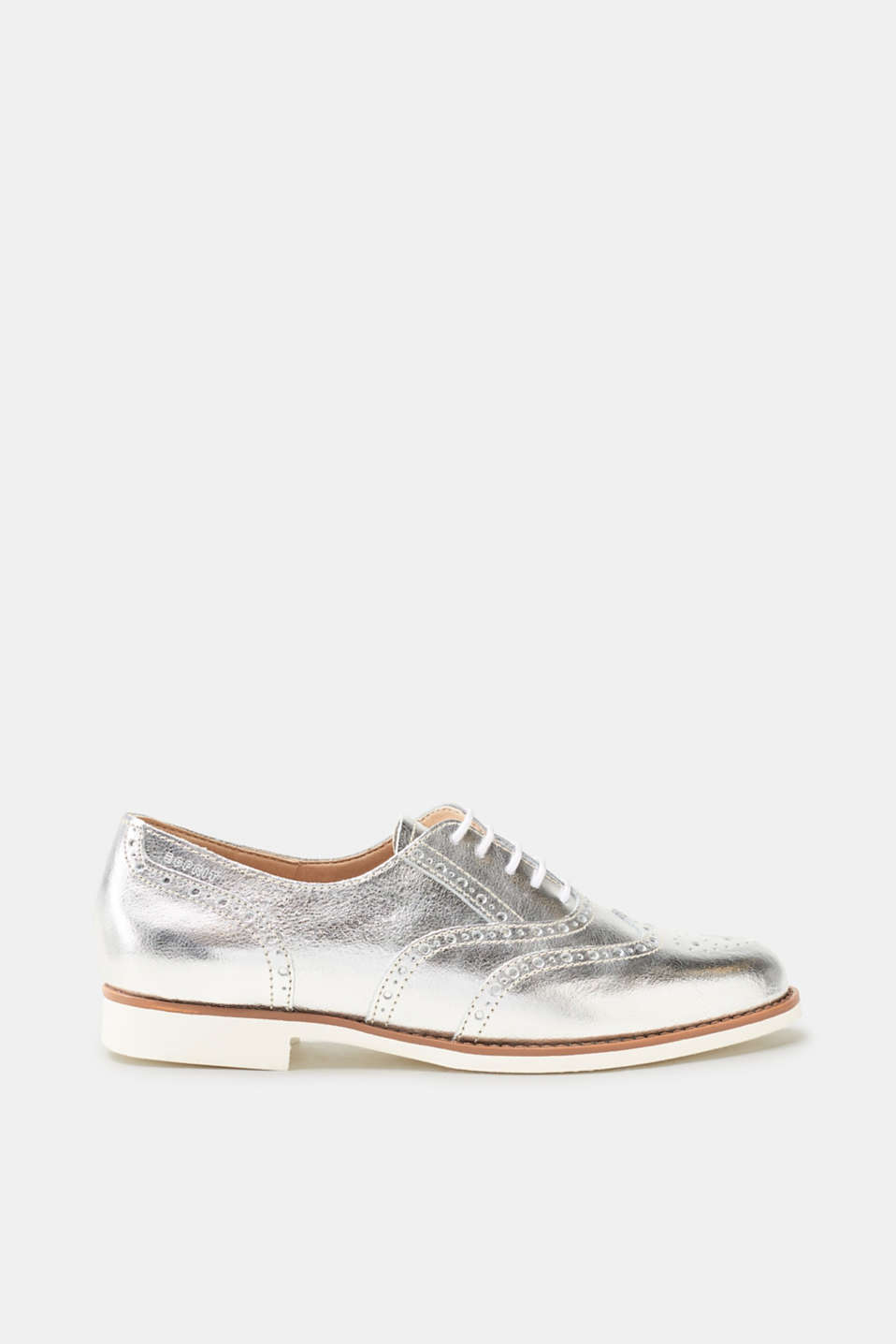 Esprit - Leather lace-ups in metallic with white soles