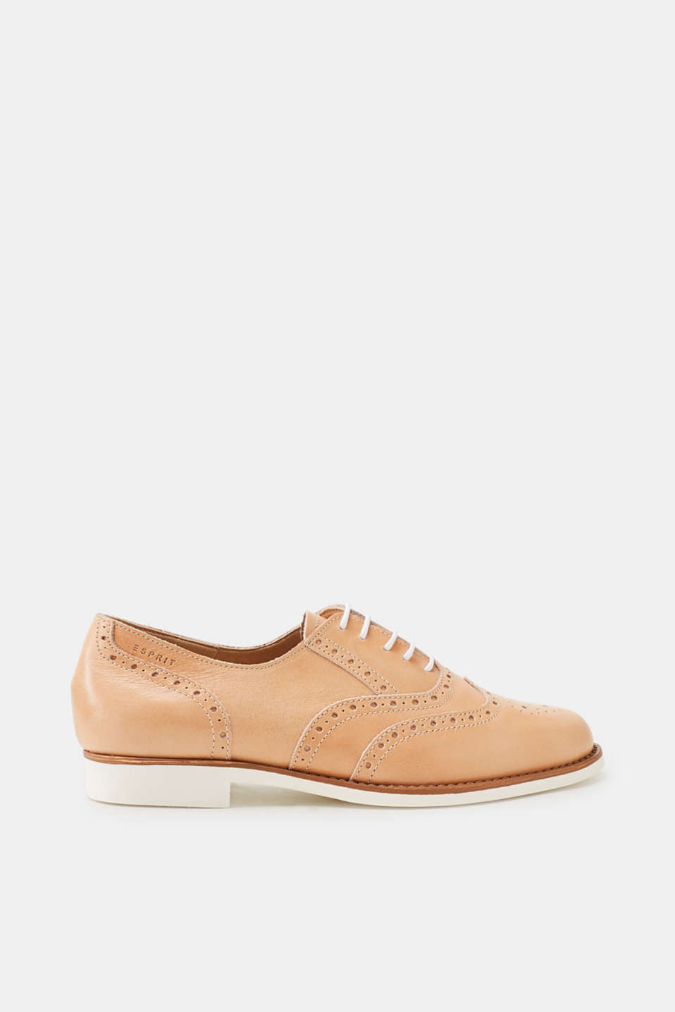Esprit - Leather lace-up shoes, white rubber sole