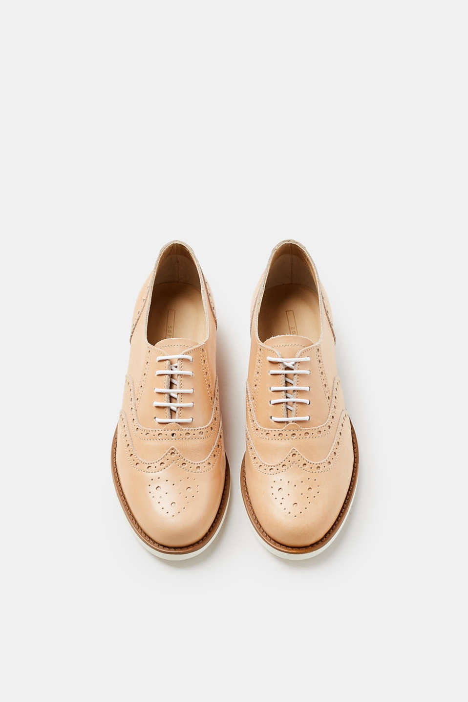 Leather lace-up shoes, white rubber sole