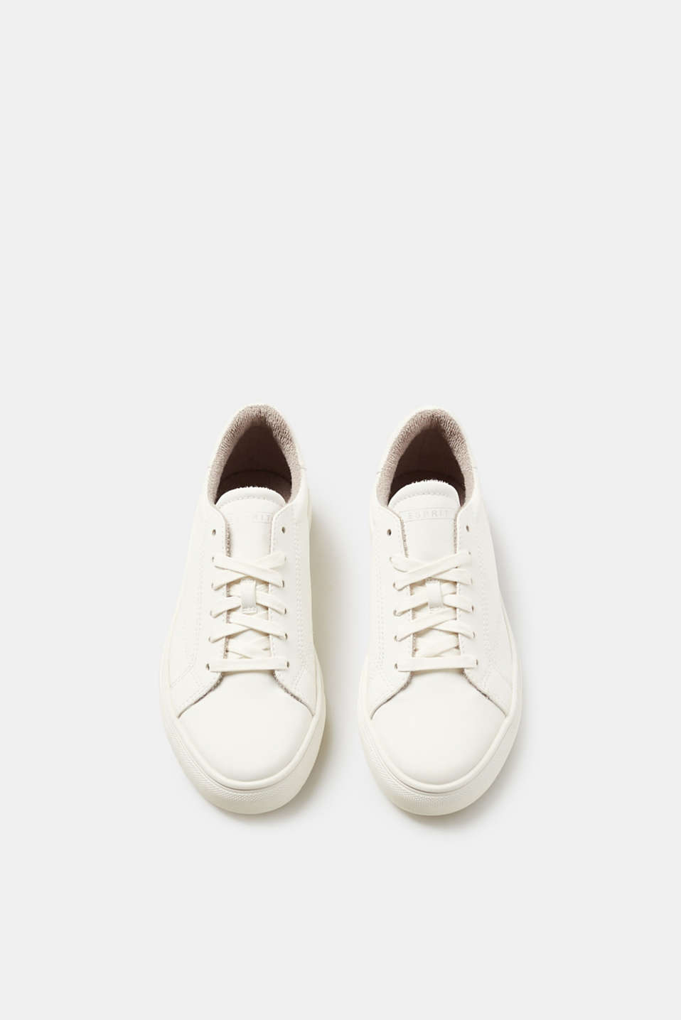 Smooth faux leather lace-up trainers
