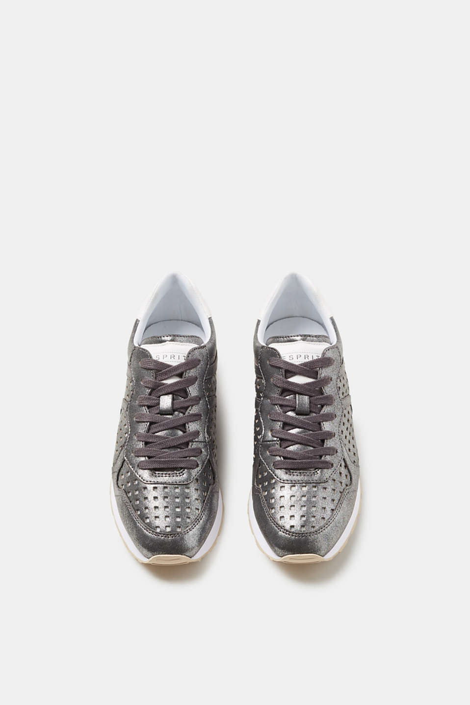 Metallic trainers with an openwork pattern