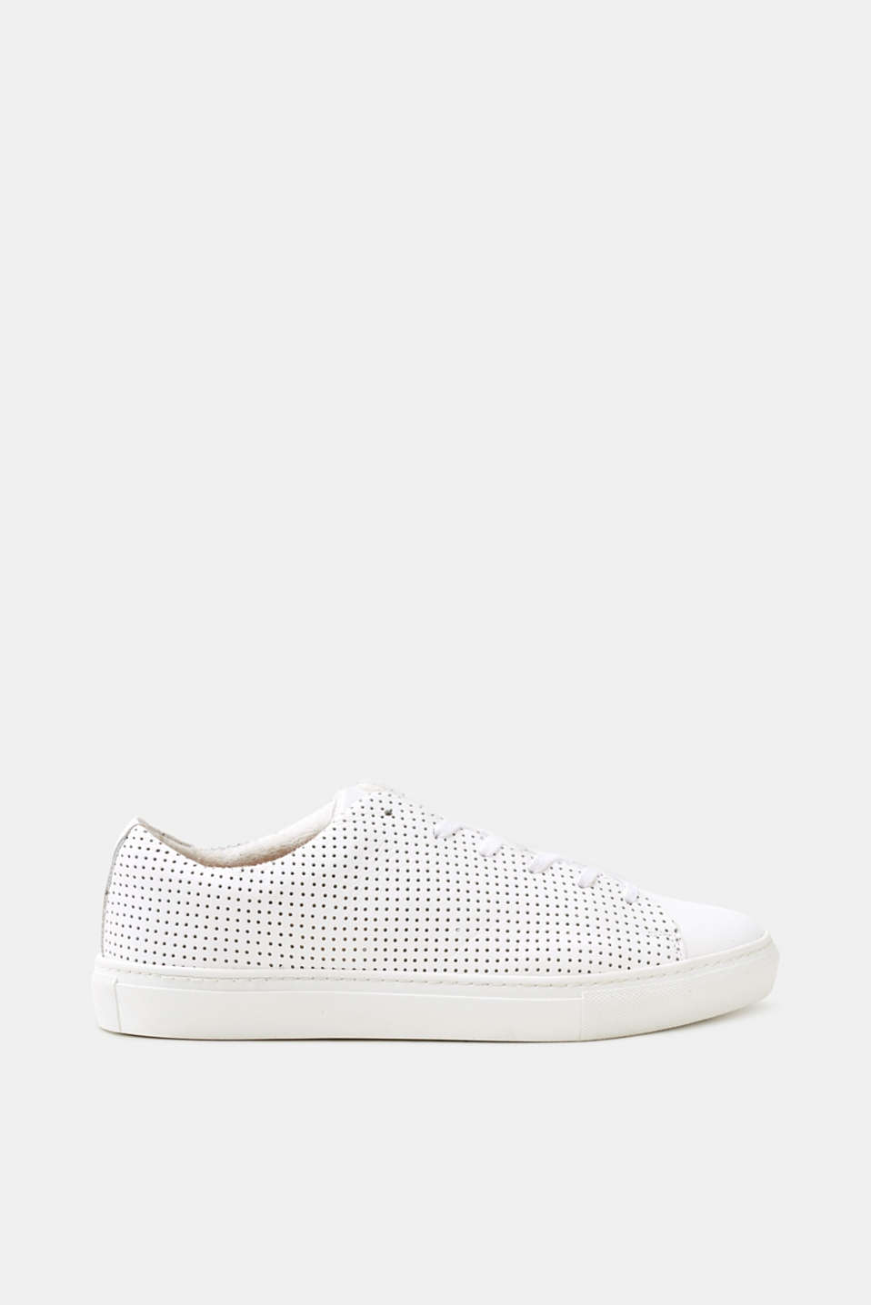 Esprit - Perforated leather trainers