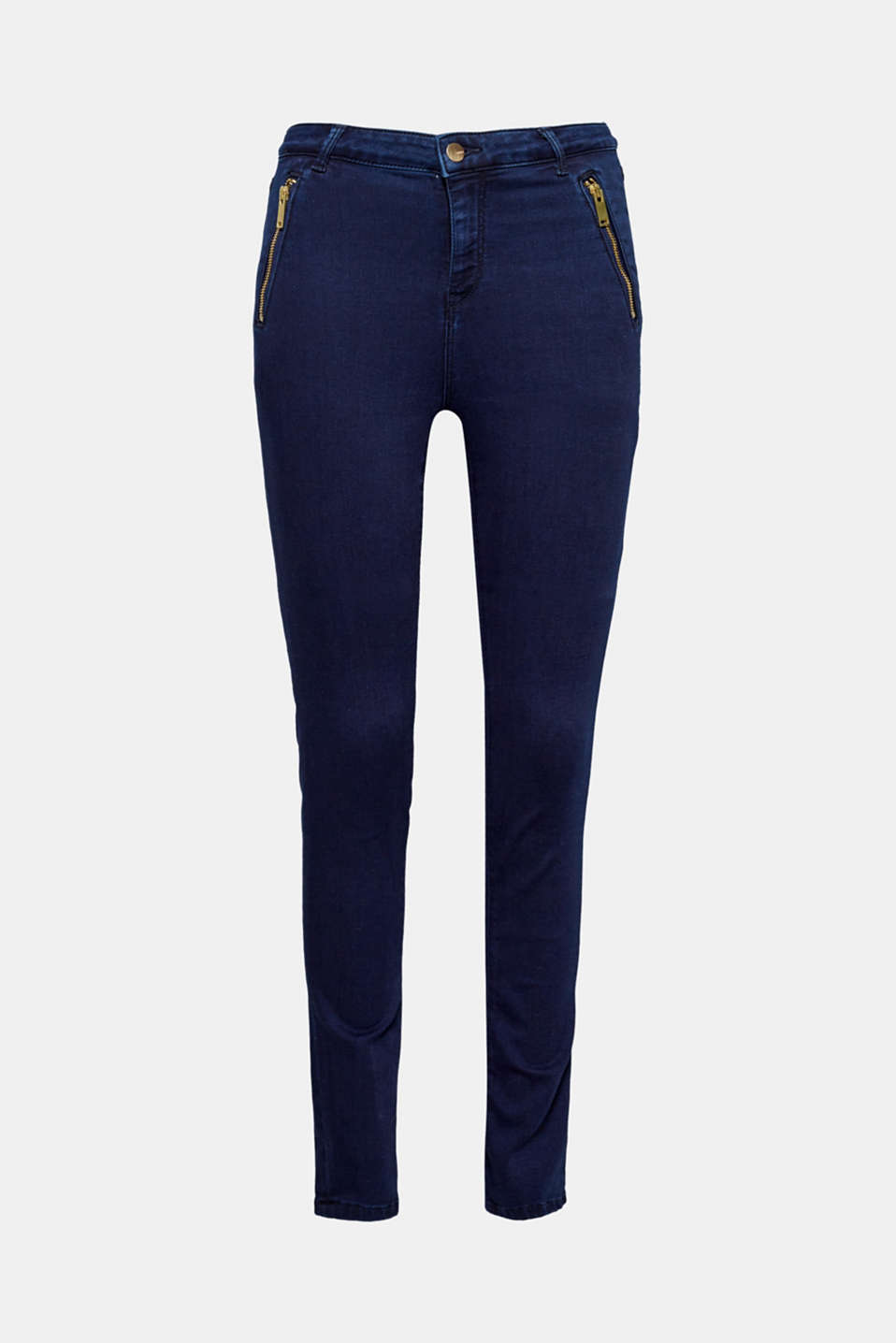The dark garment wash, the gold-coloured zip and the slim fit give these stretch jeans their smart look!