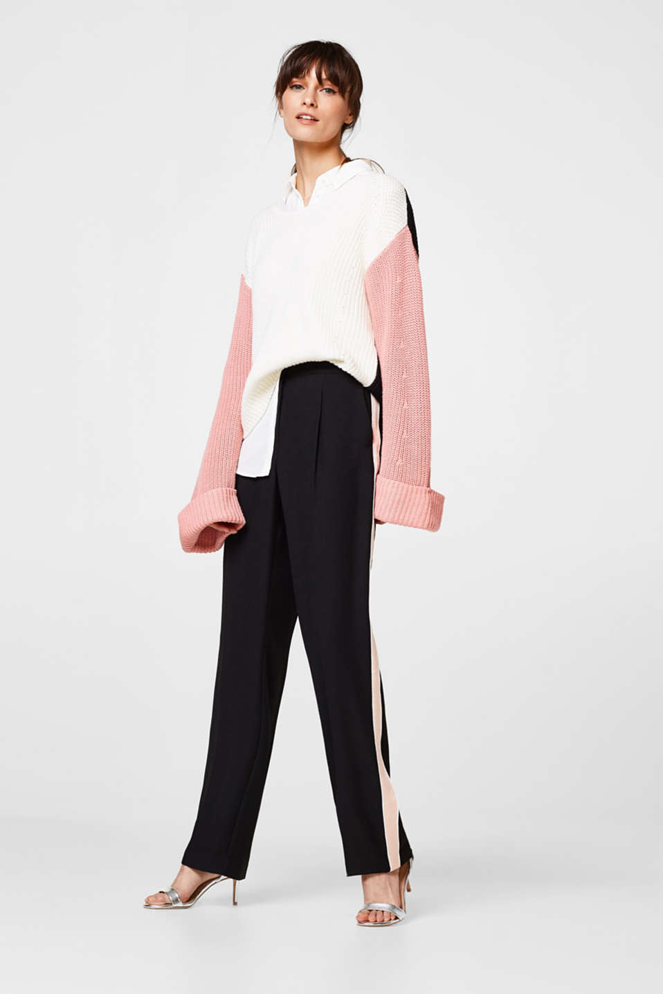 Esprit - Flowing trousers with tuxedo stripes