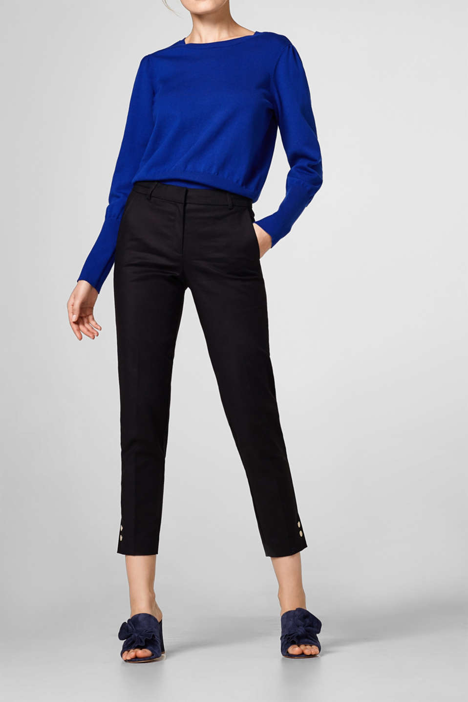 Esprit - Cropped stretch trousers, buttons on hem