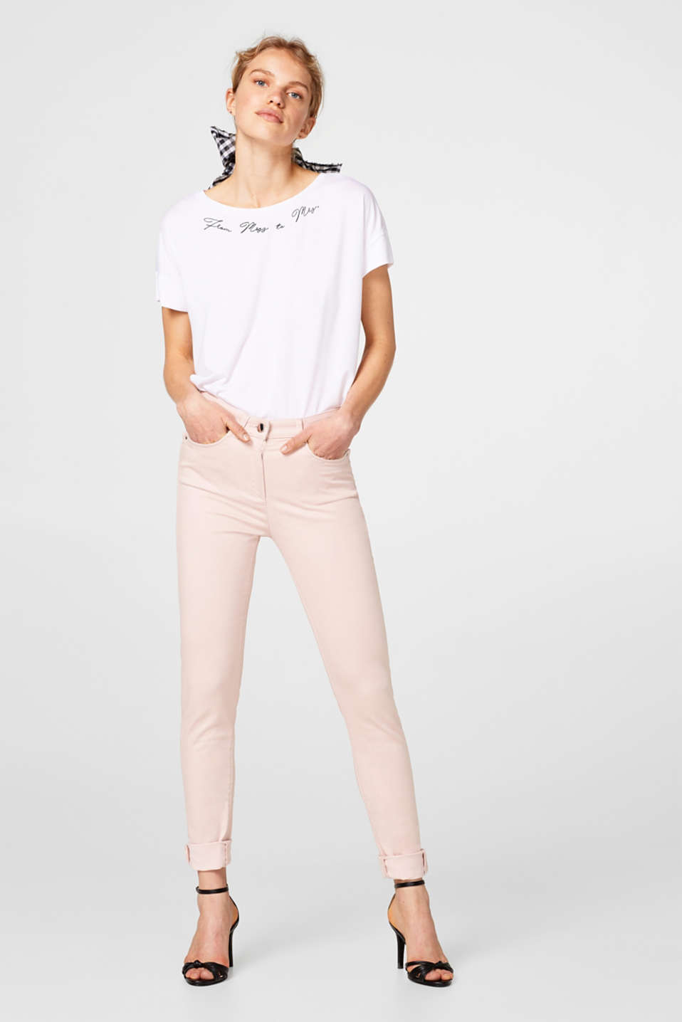 Esprit - High-Waist-Pants aus softem Stretch-Satin