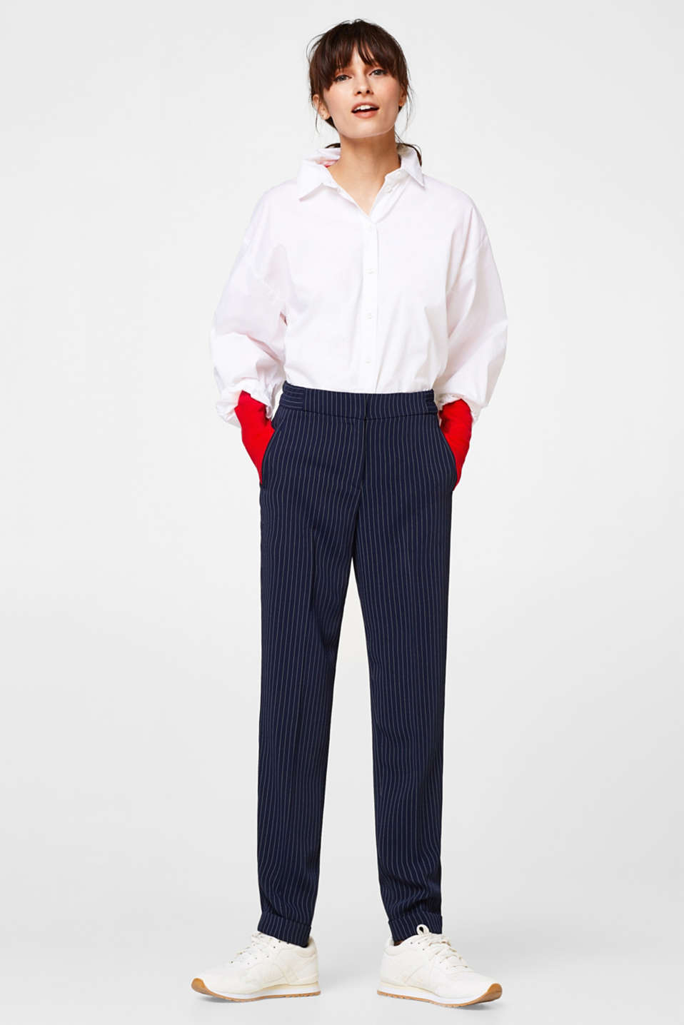 Esprit - Flowing trousers with pinstripes