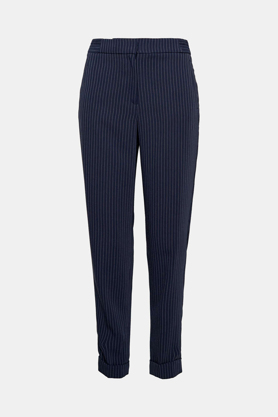 The partially elasticated waistband makes these flowing pinstripe trousers as comfy as tracksuit bottoms!