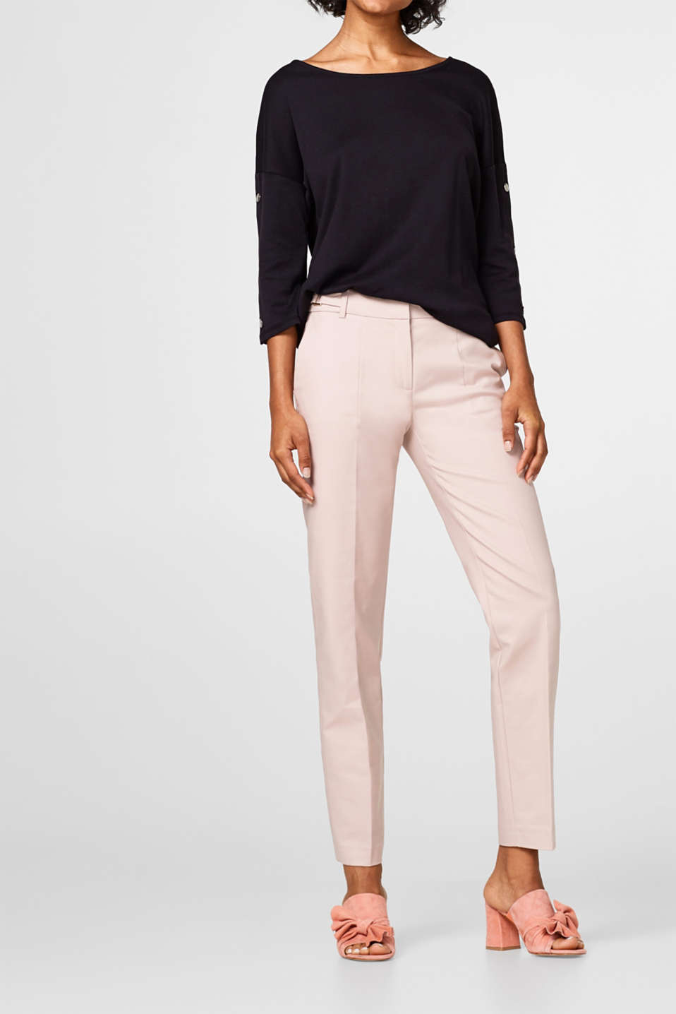 Esprit - Cotton stretch trousers with a waist panel