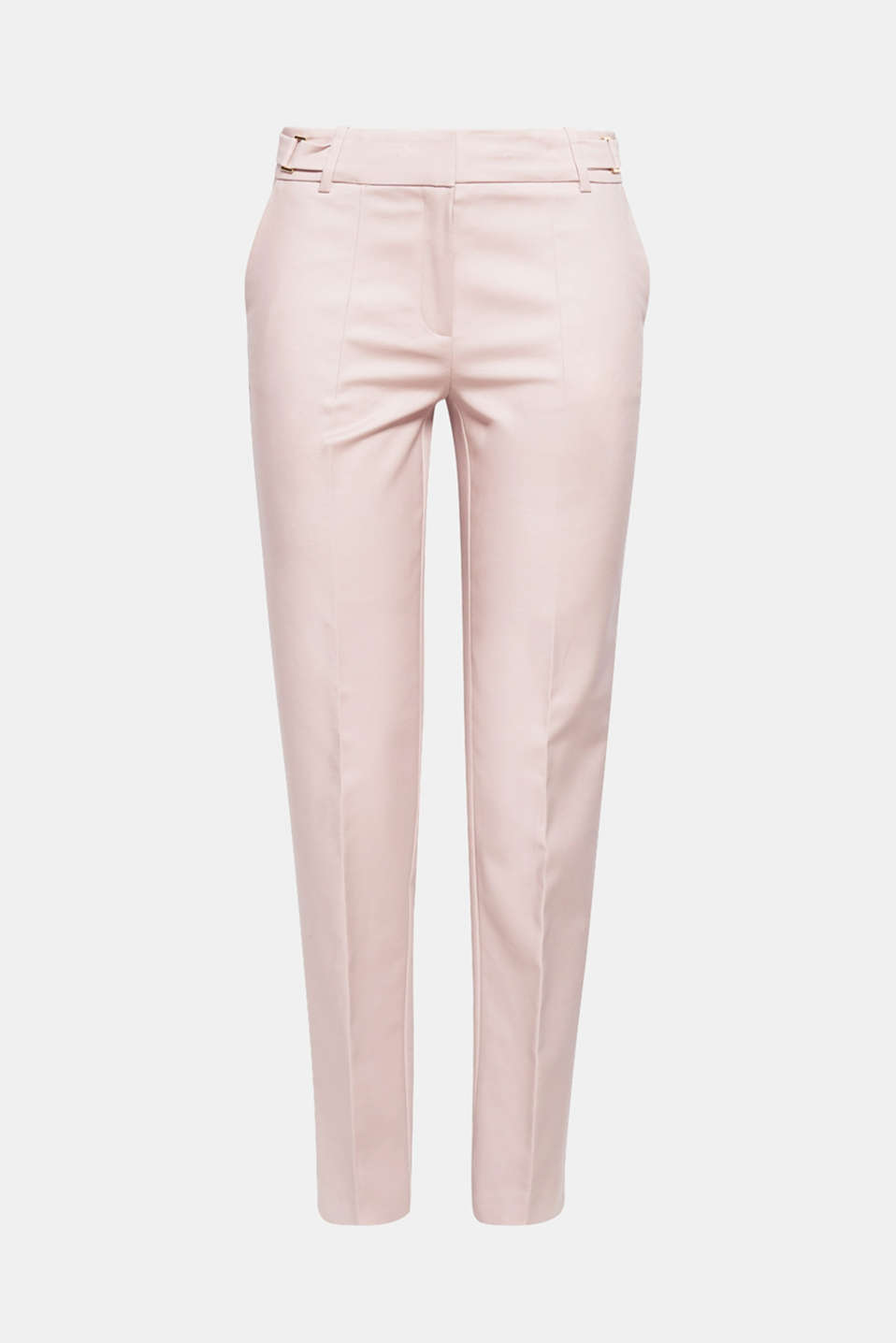 The somewhat crisp cotton fabric with stretch and the decorative waist straps give these trousers their chic edge!