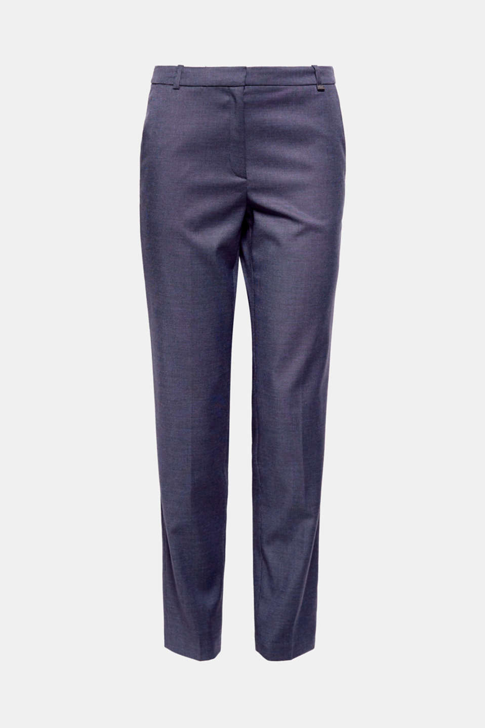 Business style in fine, smooth two-tone fabric: pair these trousers with the matching blazer for a complete outfit!
