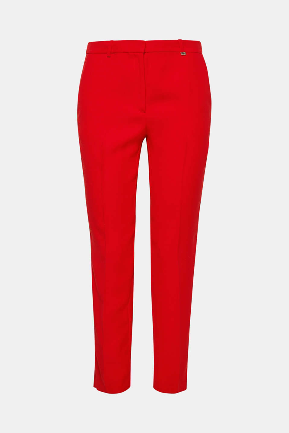 Hot red: these ankle-length trousers in softly draped crêpe with pressed pleats spice up any look.