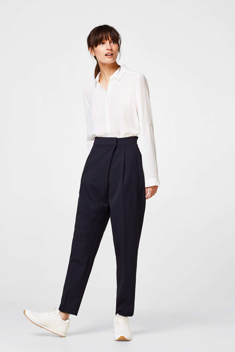 Esprit - Light stretch trousers + wrap-over effect