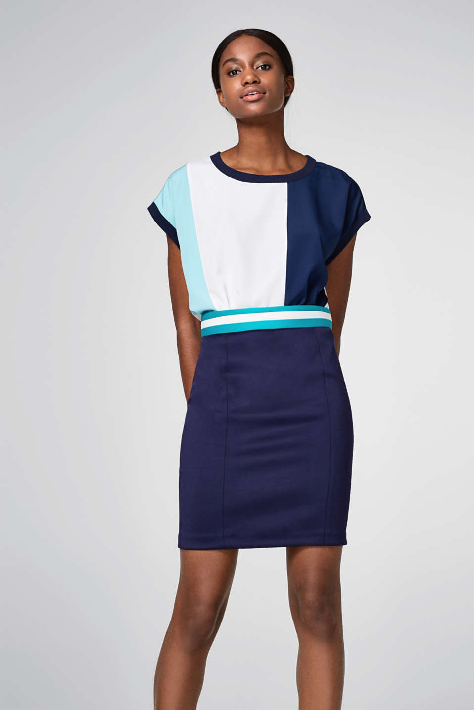 Esprit - Skirt in bonded jersey with shaping effects