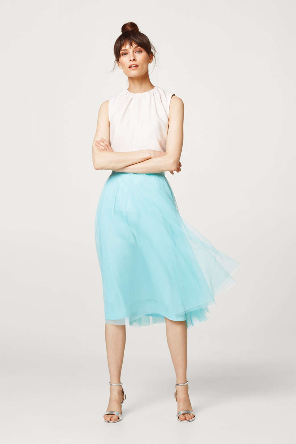 Esprit - Tulle skirt in a stylish midi length