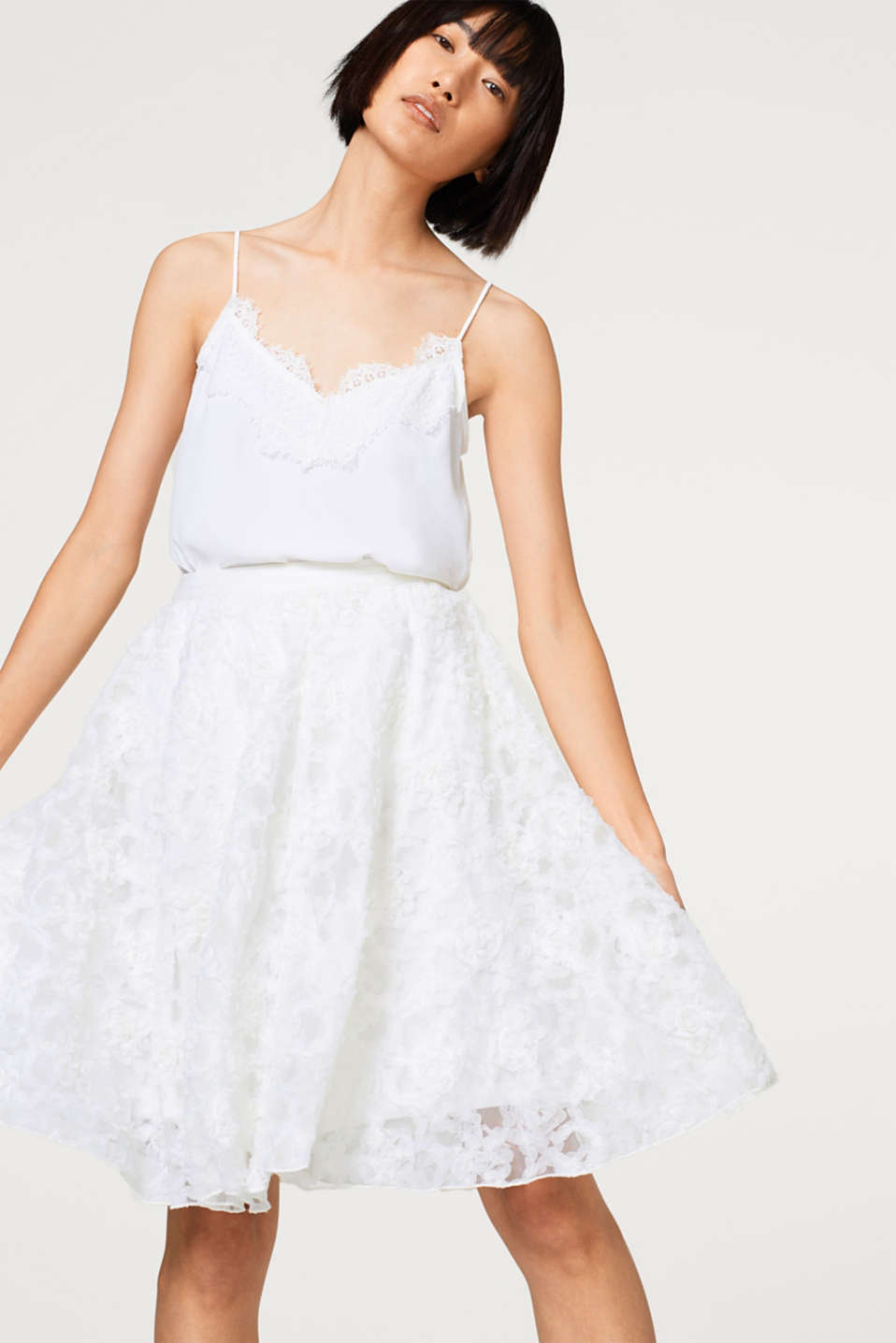 Esprit - Tulle party skirt with embroidery