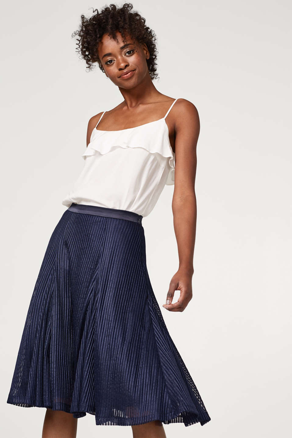 Esprit - Flared tulle skirt with textured stripes