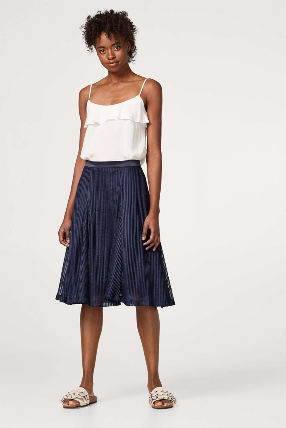 Flared tulle skirt with textured stripes
