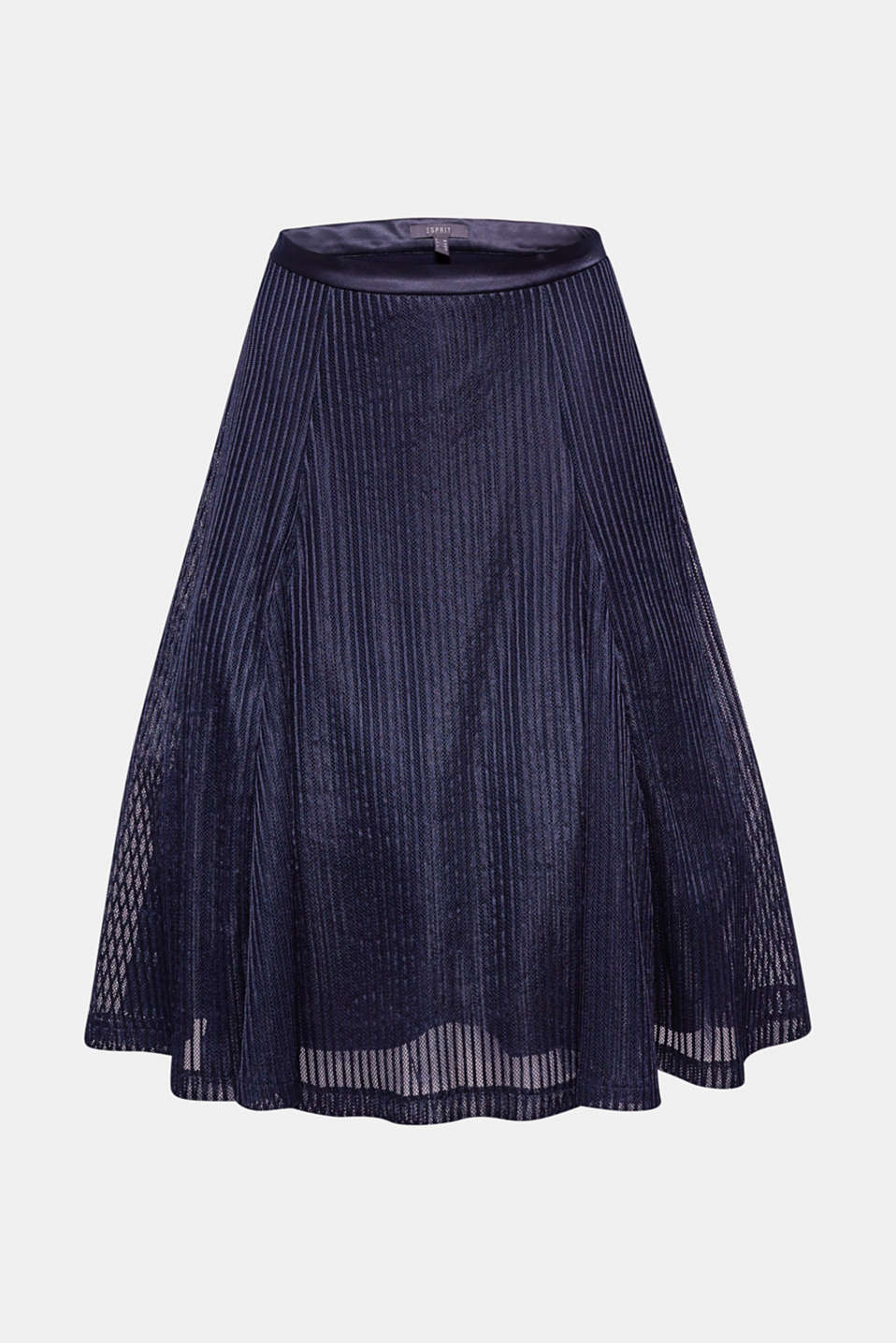 Swirls seductively around your legs as you stroll, twirl and dance: this flared tulle skirt with shimmering, textured stripes and a volume-boosting underskirt.