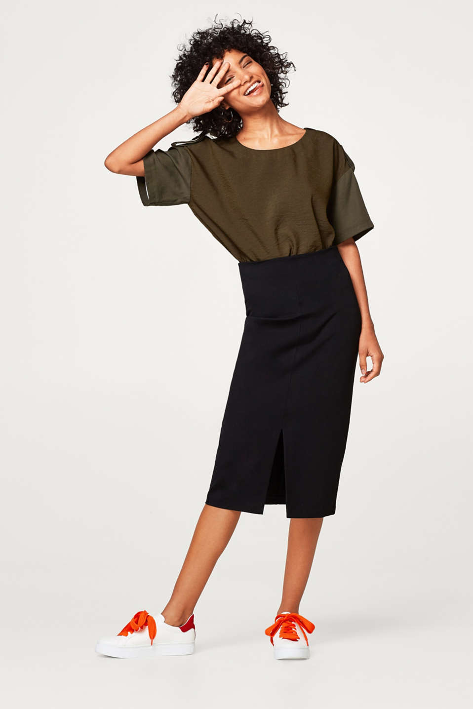 Midi skirt in firm stretch jersey
