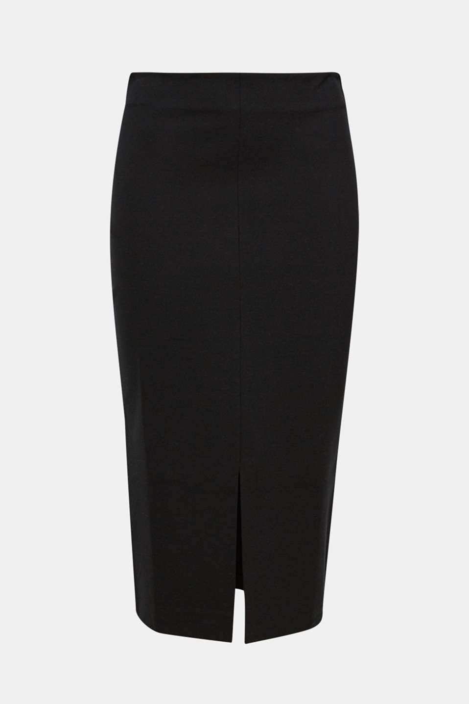 This midi skirt in firm stretch jersey creates a beautifully slinky, feminine silhouette with a slit at the centre front!
