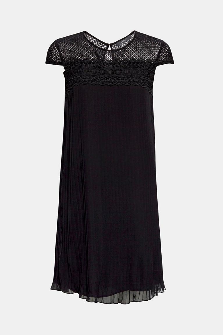 Plissee-Kleid mit zarter Häkelspitze