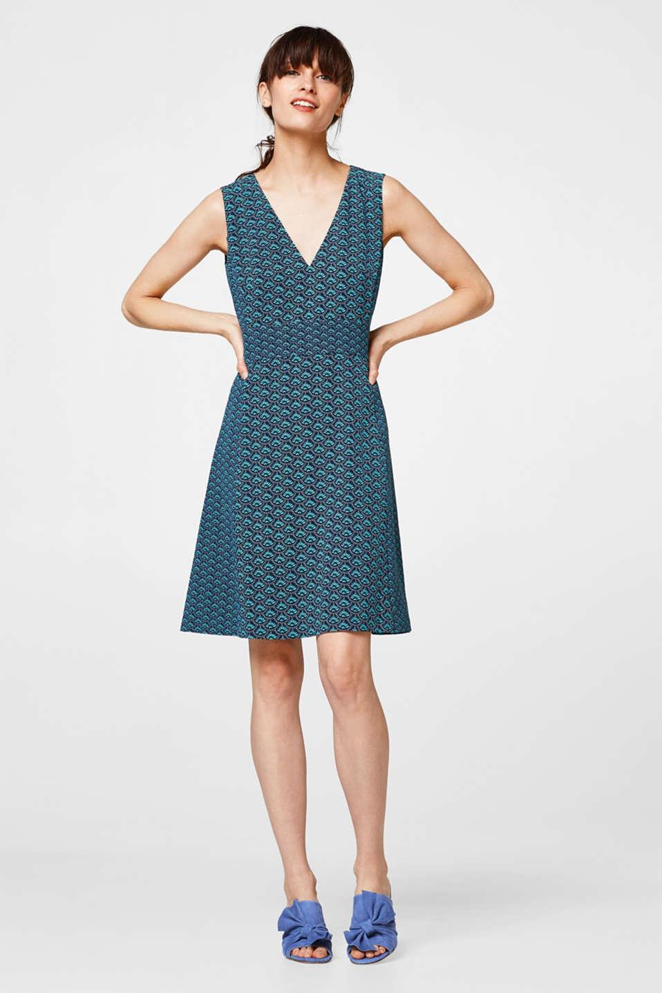 Esprit - Jacquard-Kleid mit tiefem V-Ausschnitt im Online Shop kaufen