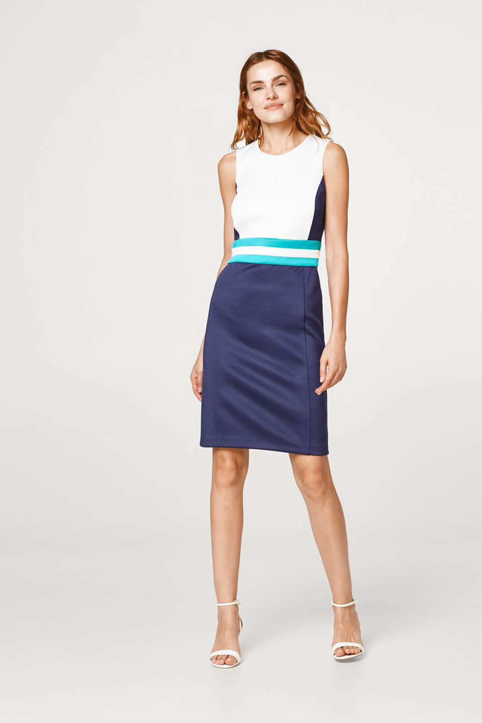 Jersey colour block sheath dress