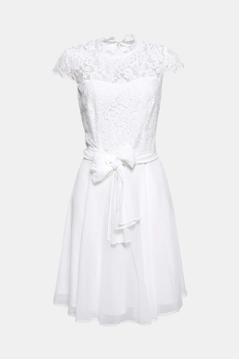This dress with a lace top section and a chiffon skirt is a highlight for different occasions – depending on the colour!