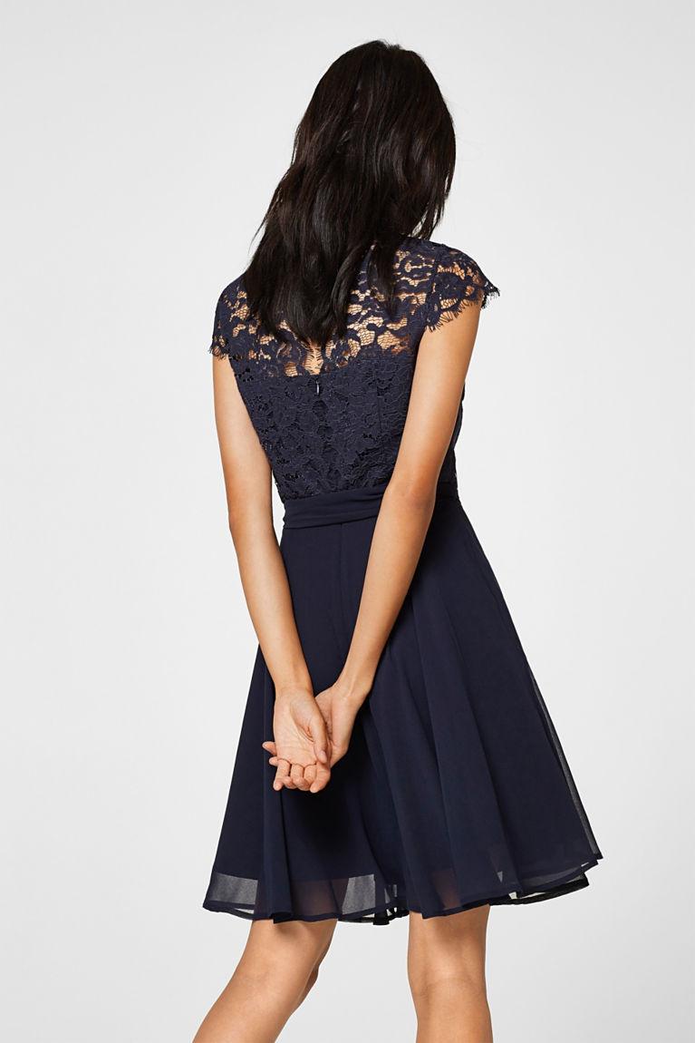 Cocktail-/Brautkleid aus Spitze und Chiffon
