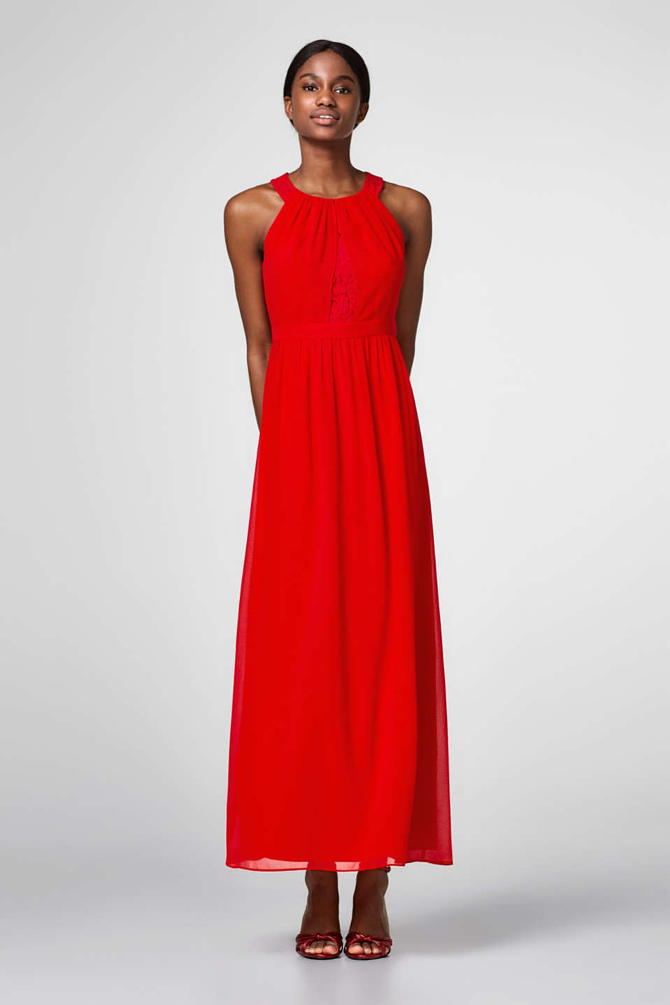 Esprit - Maxi dress in lace and chiffon