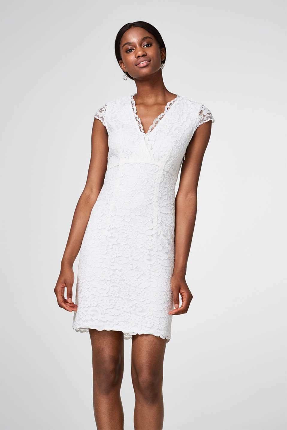 Esprit - Lace dress with opaque jersey lining
