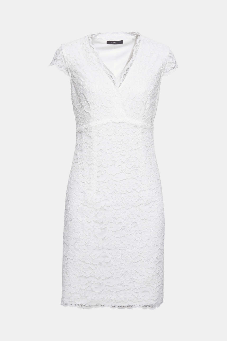 Pure romance! This sheath dress is breathtakingly eye-catching thanks to its decorative floral lace.