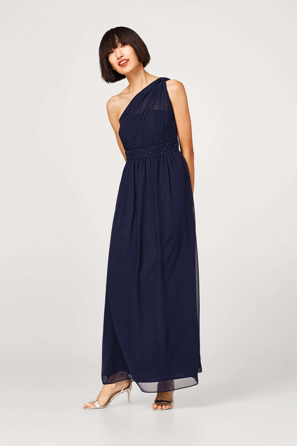 Esprit - One shoulder dress in chiffon + rhinestones