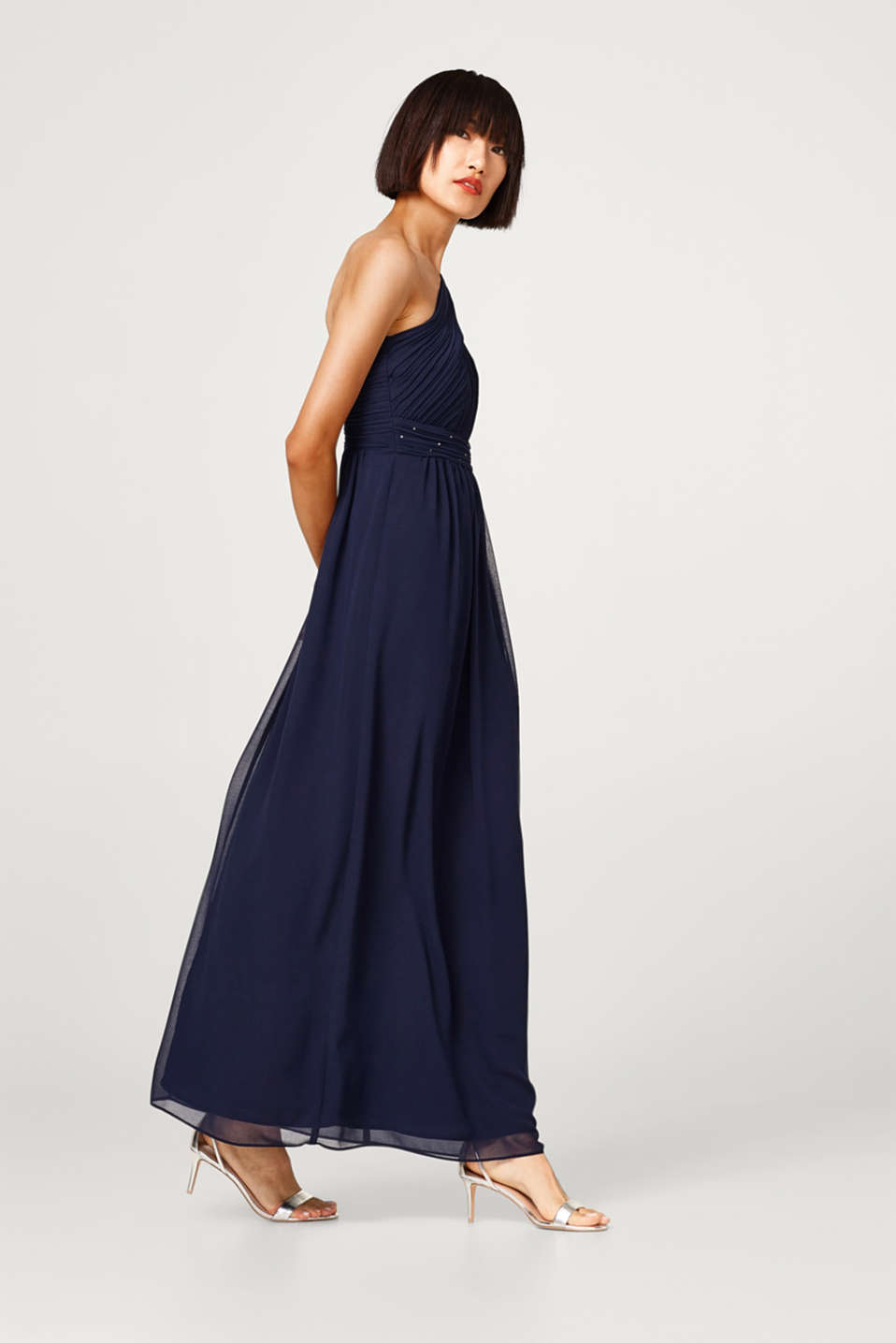 One shoulder dress in chiffon + rhinestones