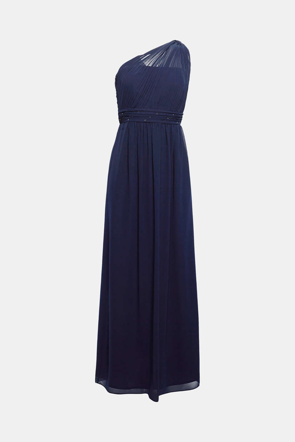 Strut your stuff: this one shoulder maxi dress has pleats and glittery rhinestones!