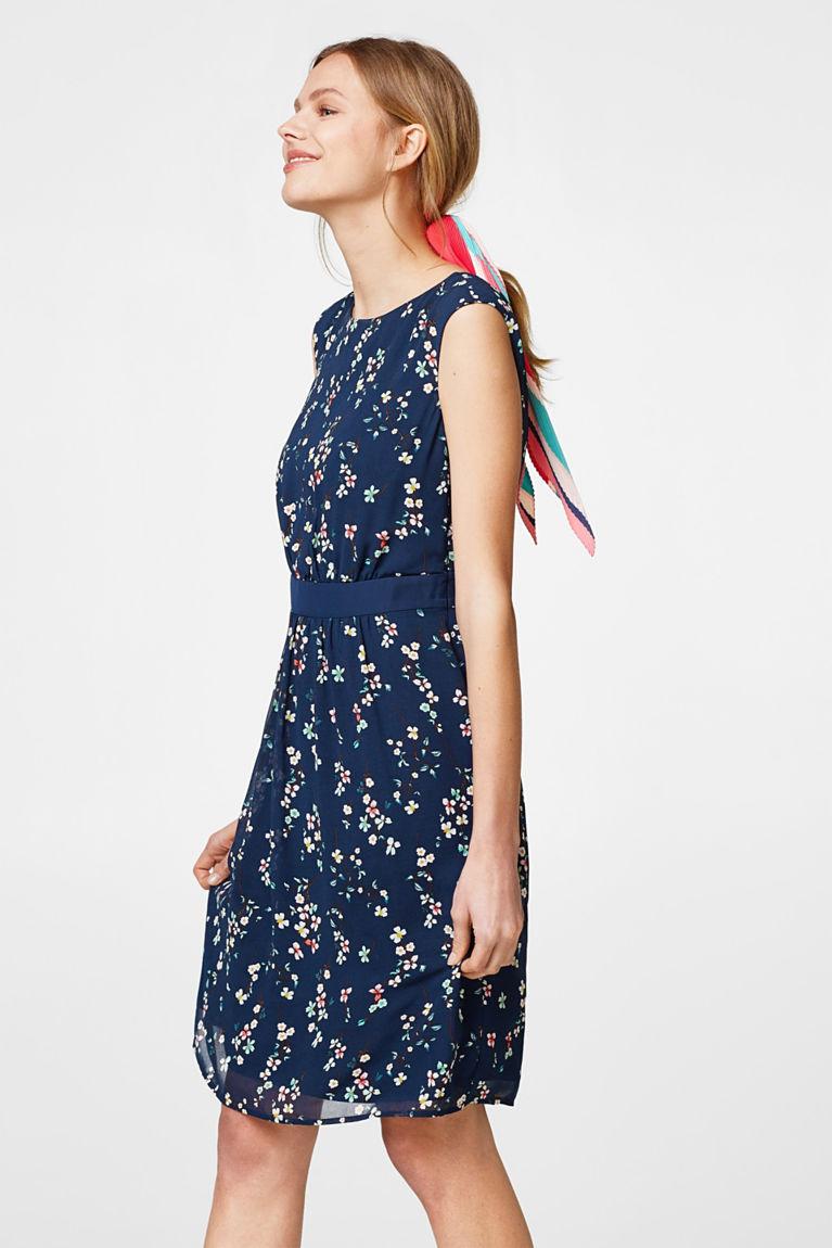 Chiffon-Kleid mit rückseitigem Wickeleffekt