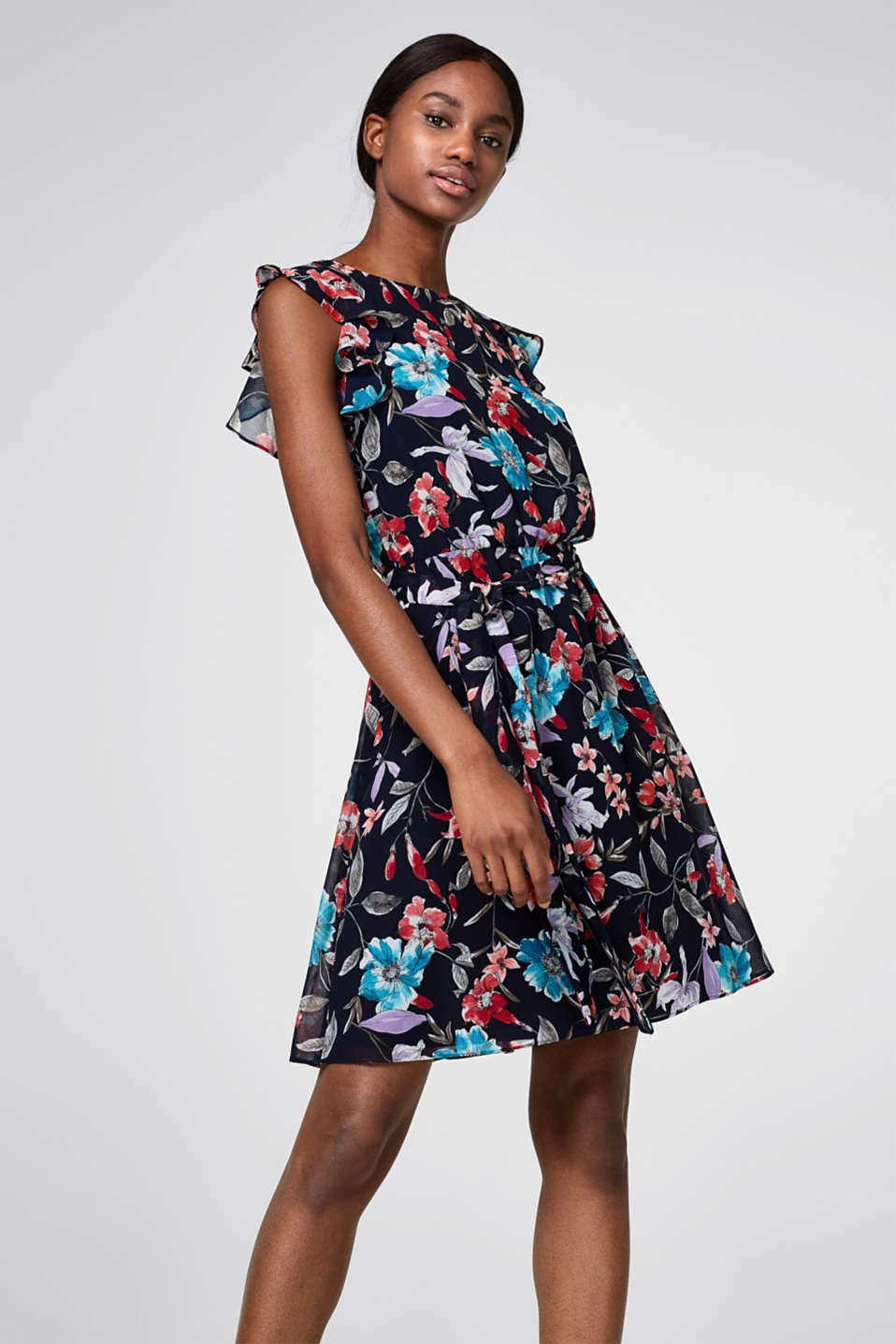 Esprit - Chiffon dress with a print and frills